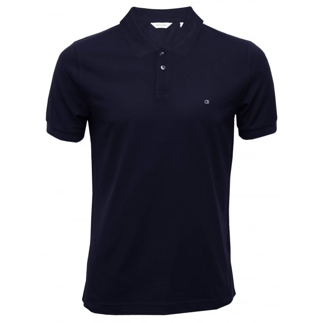 Calvin Klein Fitted Polo Shirt Pima Cotton Pique, Navy