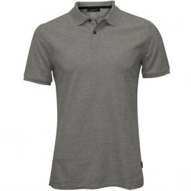 Jacob Refined Pique Chest Logo Polo Shirt, Grey Heather