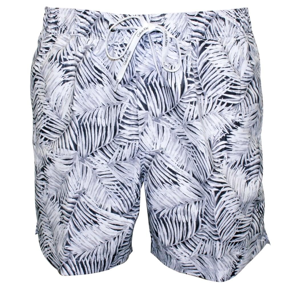 5244b85d07 Calvin Klein Jungle Print Swim Shorts, White | UnderU
