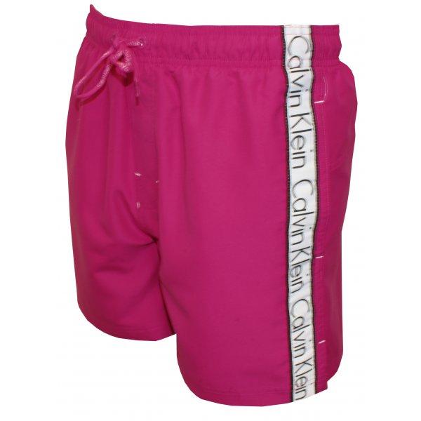 100252a244 Calvin Klein Logo Tape Drawstring Swim Shorts, Raspberry Rose