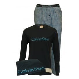 Long-Sleeve Jersey Pyjama Set in a Gift Bag, Blue