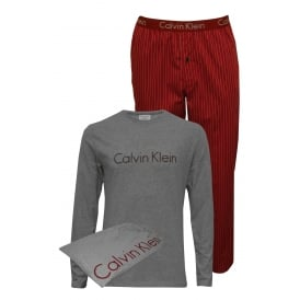 Long-Sleeve Jersey & Woven Bottoms Pyjama Set in a Gift Bag, Grey/Red