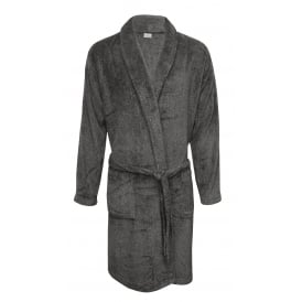 Luxury Sponge Bathrobe, Heather Grey
