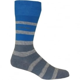 Reverse Jersey Bar Stripe Socks, Blue/Grey