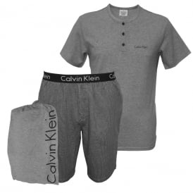 Short-Sleeve Henley T-Shirt & Pyjama Shorts in a Gift Bag, Grey/Blue