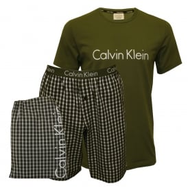 Short-Sleeve T-Shirt & Pyjama Shorts in a Gift Bag, Khaki/Grey