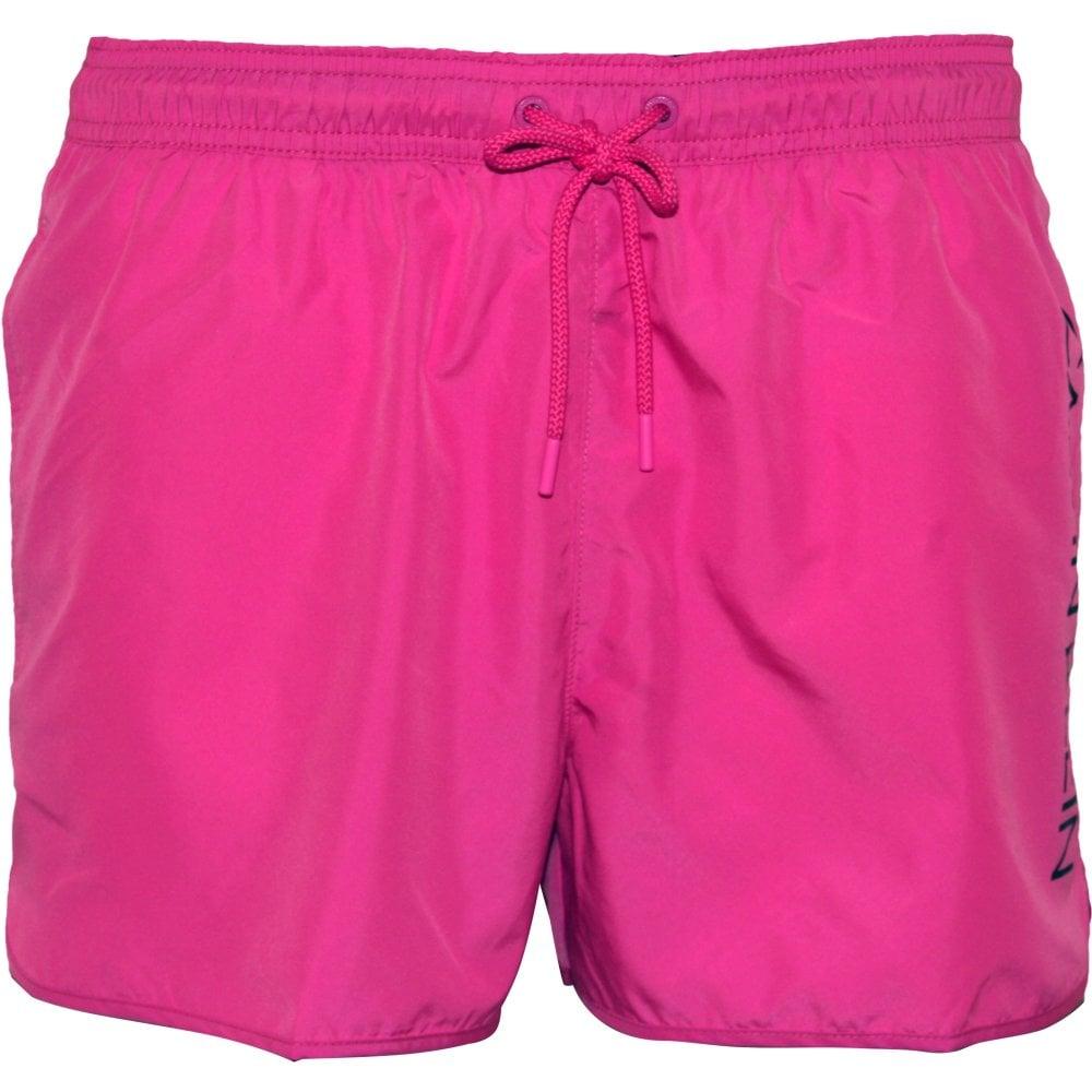 ed76d884d0 Calvin Klein Side Logo Athletic-Cut Swim Shorts, Phlox Pink   UnderU