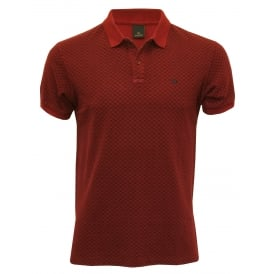 Classic Pique Polo Shirt with geometric pattern, Burgundy