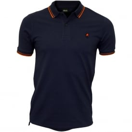 Colour Contrast Polo Shirt, Indigo Blue