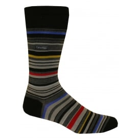 Combed Cotton Barcode Multi-stripe Socks, Black