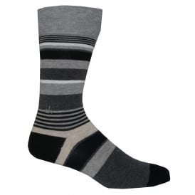 Combed Cotton Multi-stripe Logo Socks, Black/Grey