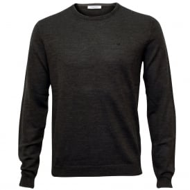Crew-Neck Fitted Knit Sweater, Charcoal