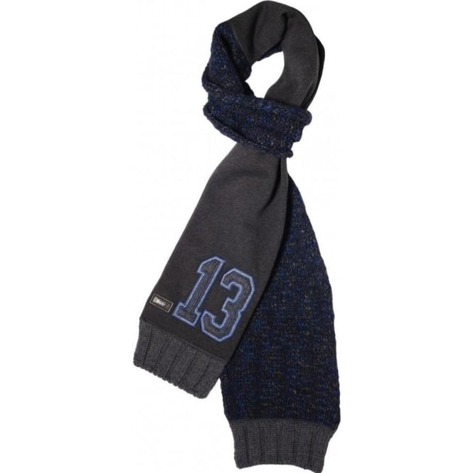 D & G 13 Logo Angora Wool Mix Scarf, Blue/Charcoal