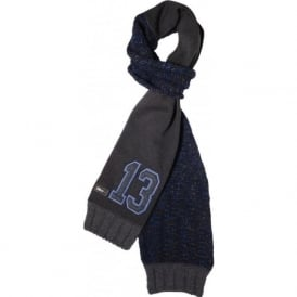 13 Logo Angora Wool Mix Scarf, Blue/Charcoal