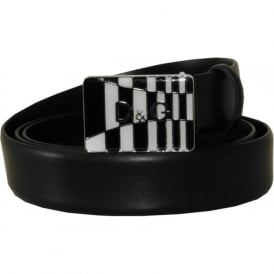 Black & White Logo Italian Leather Belt, Black