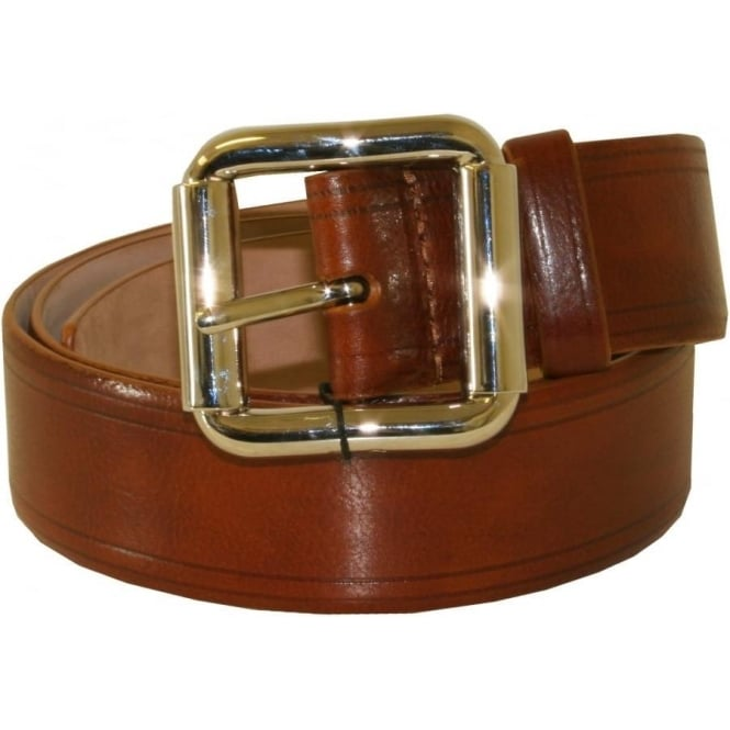 D & G Square Buckle Jeans Italian Leather Belt, Brown