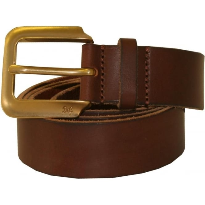D & G Square Buckle Small Logo Leather Belt, Tan