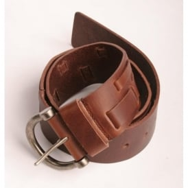 Weave Leather Belt, Brown