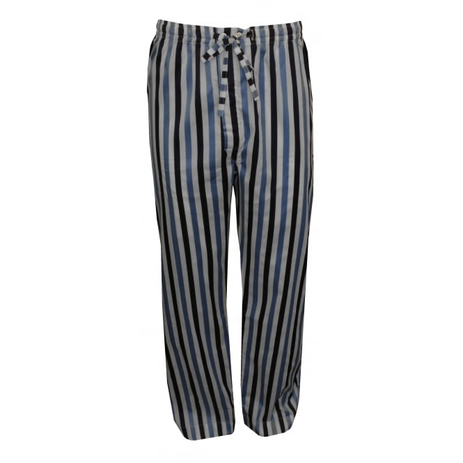 Derek Rose Windsor 40 Cotton Satin Stripe Pyjama Bottoms, Blue