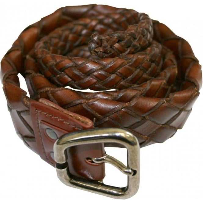 Devils Skin Narrow Rats Tail Woven Leather Belt, Brown