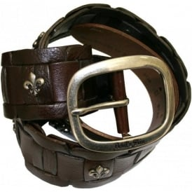 Woven Cub Logo Leather Belt, Brown