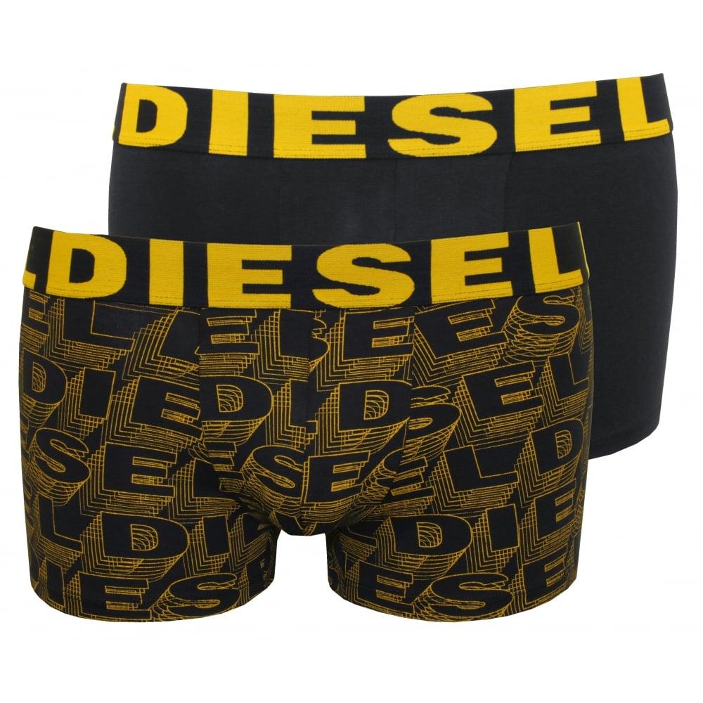 2-Pack Allover Logo Boxer Trunks, Navy/yellow