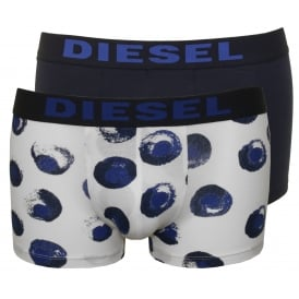 2-Pack Large Dots & Plain Boxer Trunks, Navy/White