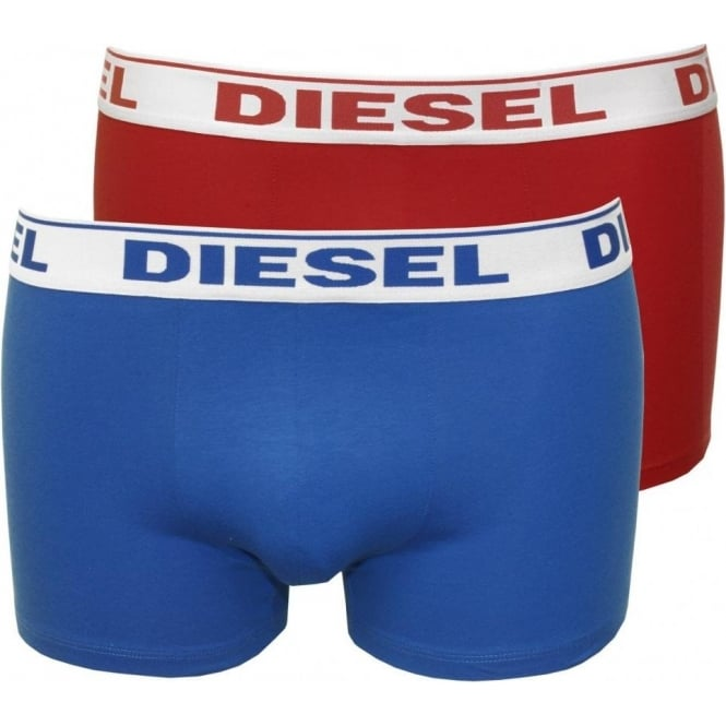 Diesel 2-Pack Shawn Boxer Trunks, Red/Blue