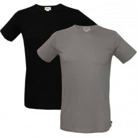 2-Pack The Essential Crew-Neck T-Shirts, Black/Grey