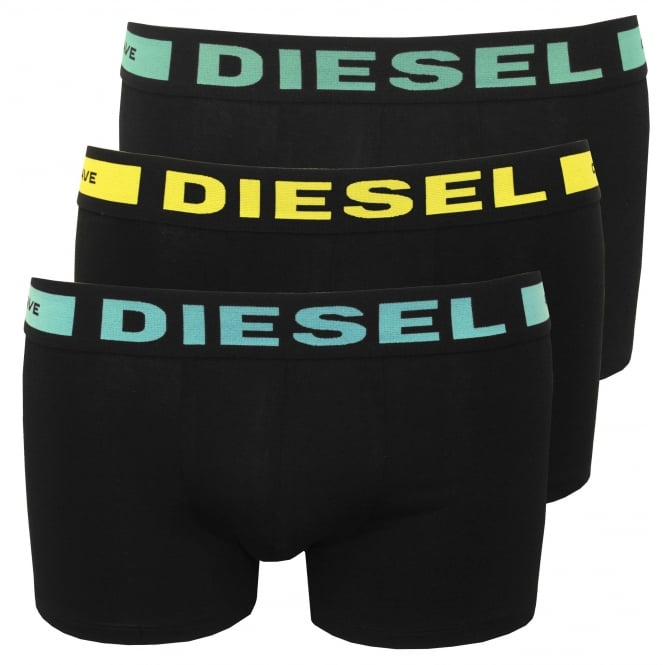 Diesel 3-Pack Boxer Trunks, Black with blue/yellow/mint