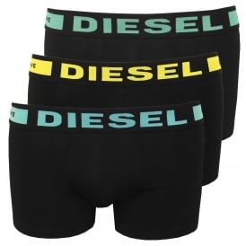 3-Pack Boxer Trunks, Black with blue/yellow/mint