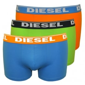 3-Pack Boxer Trunks, Blue/Lime/Orange
