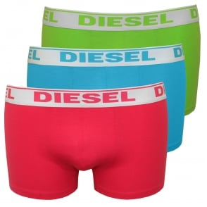 3-Pack Boxer Trunks, Blue/Lime/Pink