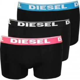 3-Pack Boxer Trunks with Coloured Waistbands, Black