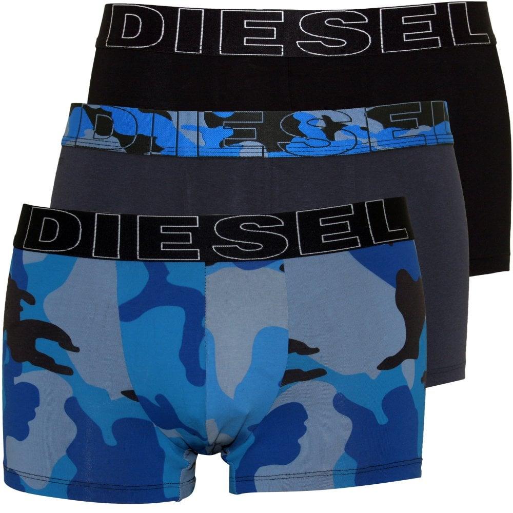 dd52d32a40a69 Diesel 3-Pack Camo Print Boxer Trunks, Blue/Grey/Black | UnderU