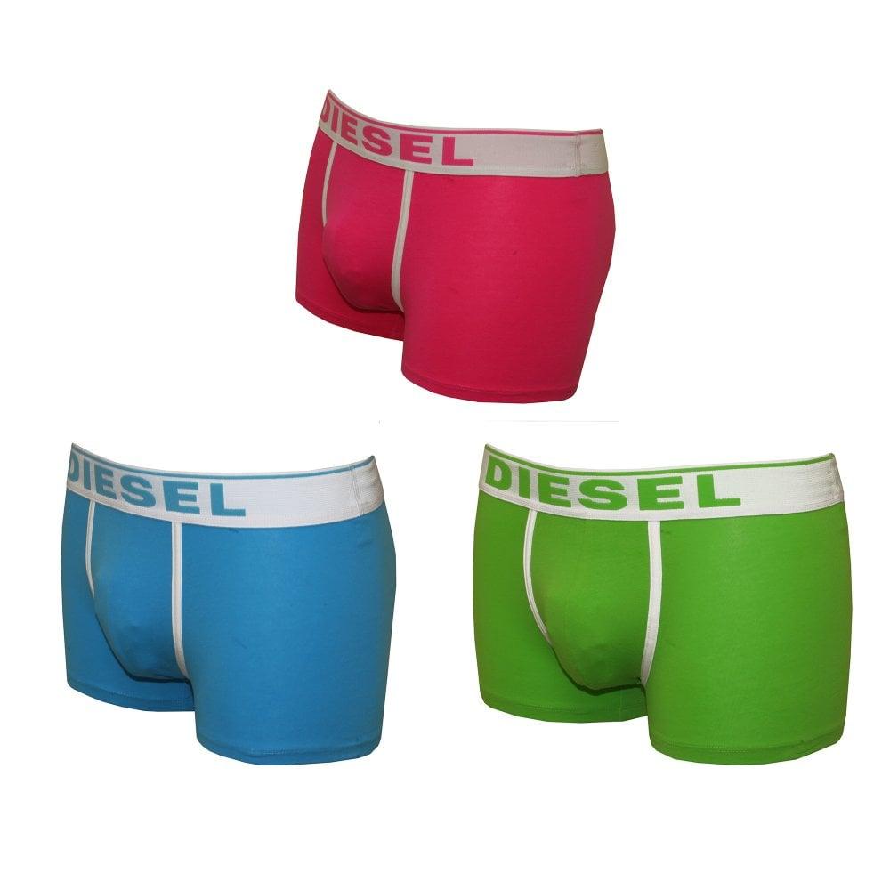 Pink//Green//Blue Diesel 3-Pack Fresh /& Bright Men/'s Boxer Trunks