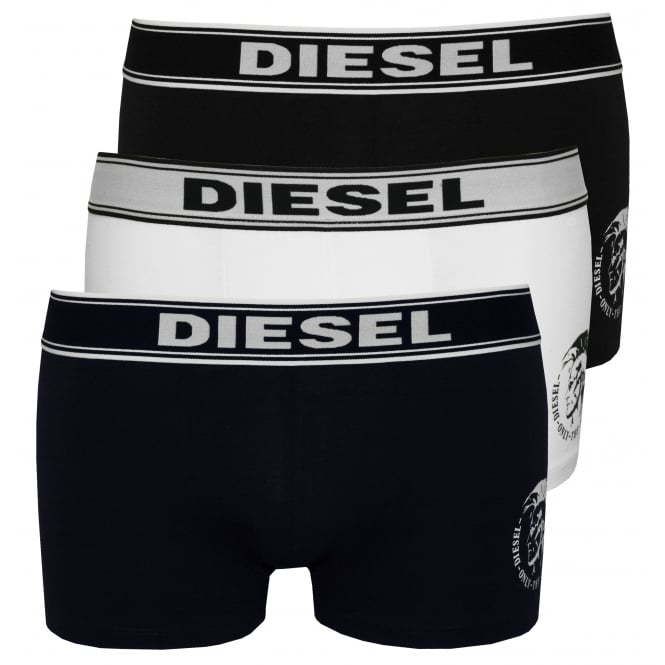 Diesel 3-Pack Mohawk Logo Boxer Trunks, Navy/White/Black