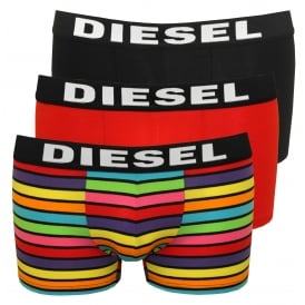 3-Pack Multistripe & Solid Boxer Trunks, Rainbow/Red/Black
