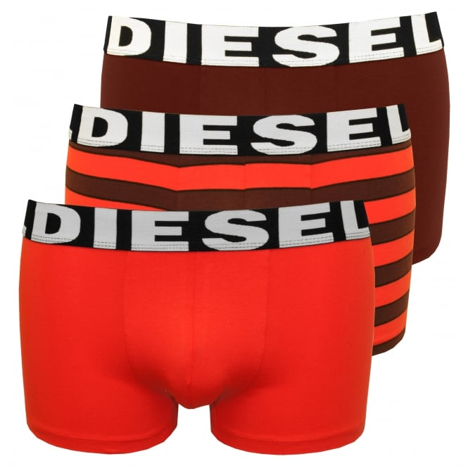 Diesel 3-Pack Stripe Boxer Trunks, Red/Burgundy