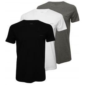3-Pack The Essential Crew-Neck T-Shirts, Black/White/Grey