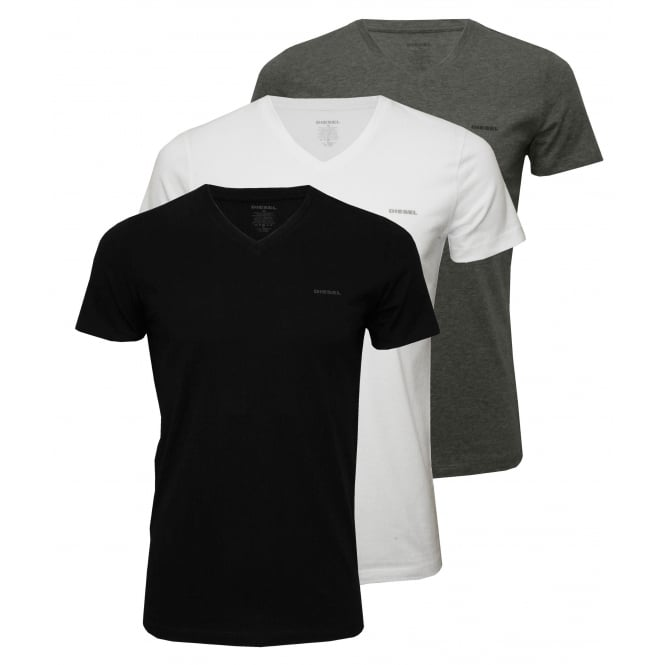 Diesel 3-Pack The Essential V-Neck T-Shirts, Black/White/Grey