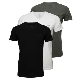 3-Pack The Essential V-Neck T-Shirts, Black/White/Grey