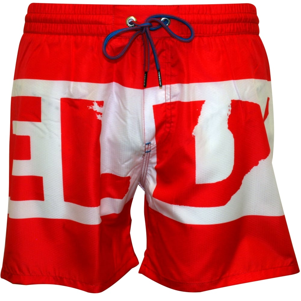0398fb12c8e08 Diesel Block Logo Swim Shorts, Red | Diesel swim shorts | UnderU