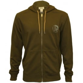 Brandon Mohawk Logo Zip-Through Hoodie, Khaki