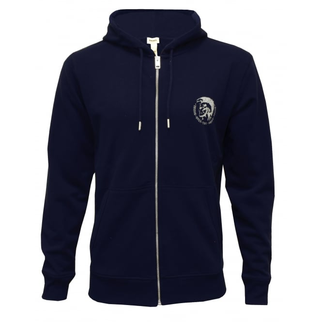 Diesel Brandon Mohawk Logo Zip-Through Hoodie, Navy