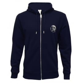 Brandon Mohawk Logo Zip-Through Hoodie, Navy
