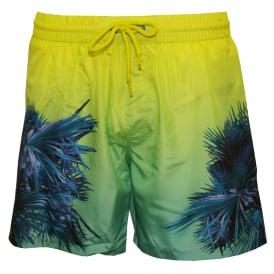 Electric Palms Print Swim Shorts, Blue/Aqua