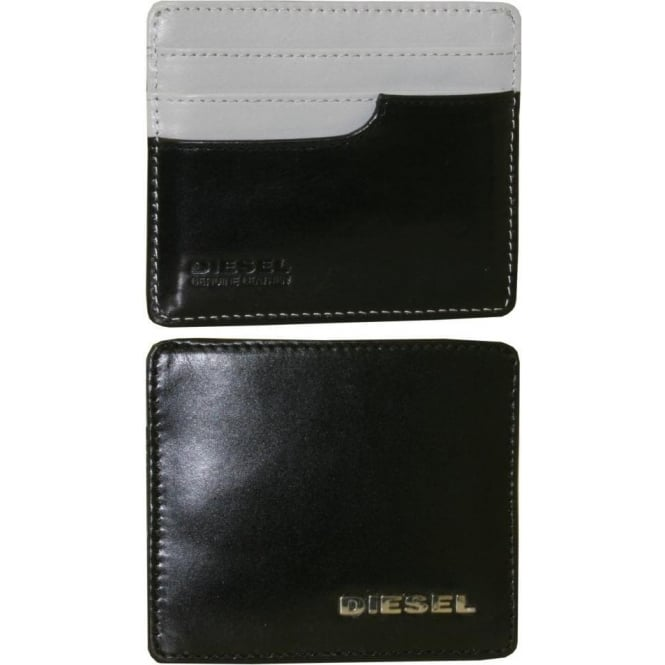 Diesel Fresh & Bright Leather Card-Holder, Black/White