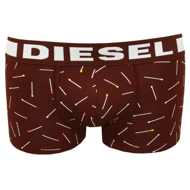 Diesel Hero Comfy-Fit Matchsticks Modal Boxer Trunk, Burgundy