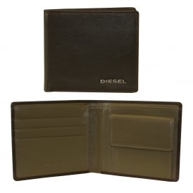 Hiresh S Coin-Pocket Leather Wallet, Brown with khaki interior